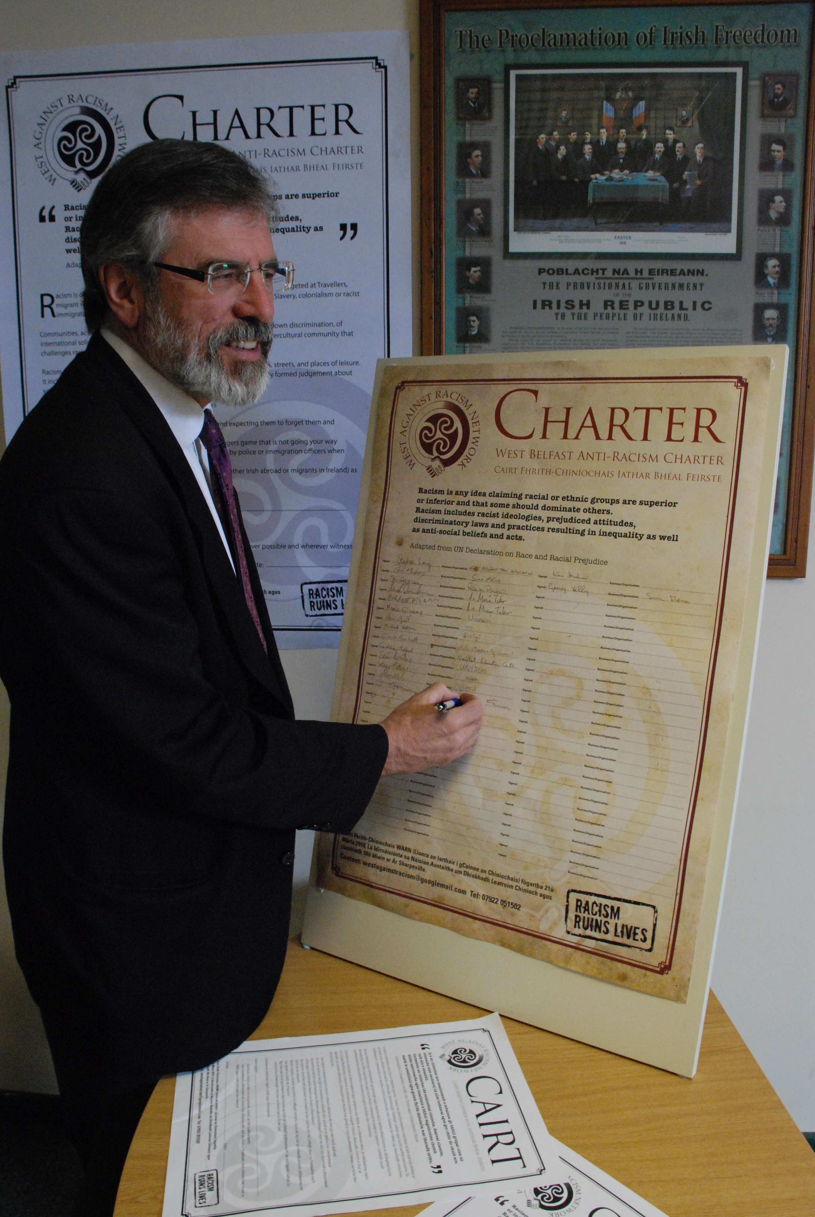 Gerry Adams Signs The Charter
