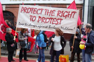 Support for the Protect the Right to Protest -Drop the Charges Against Barbara Muldoon at May Day Rally